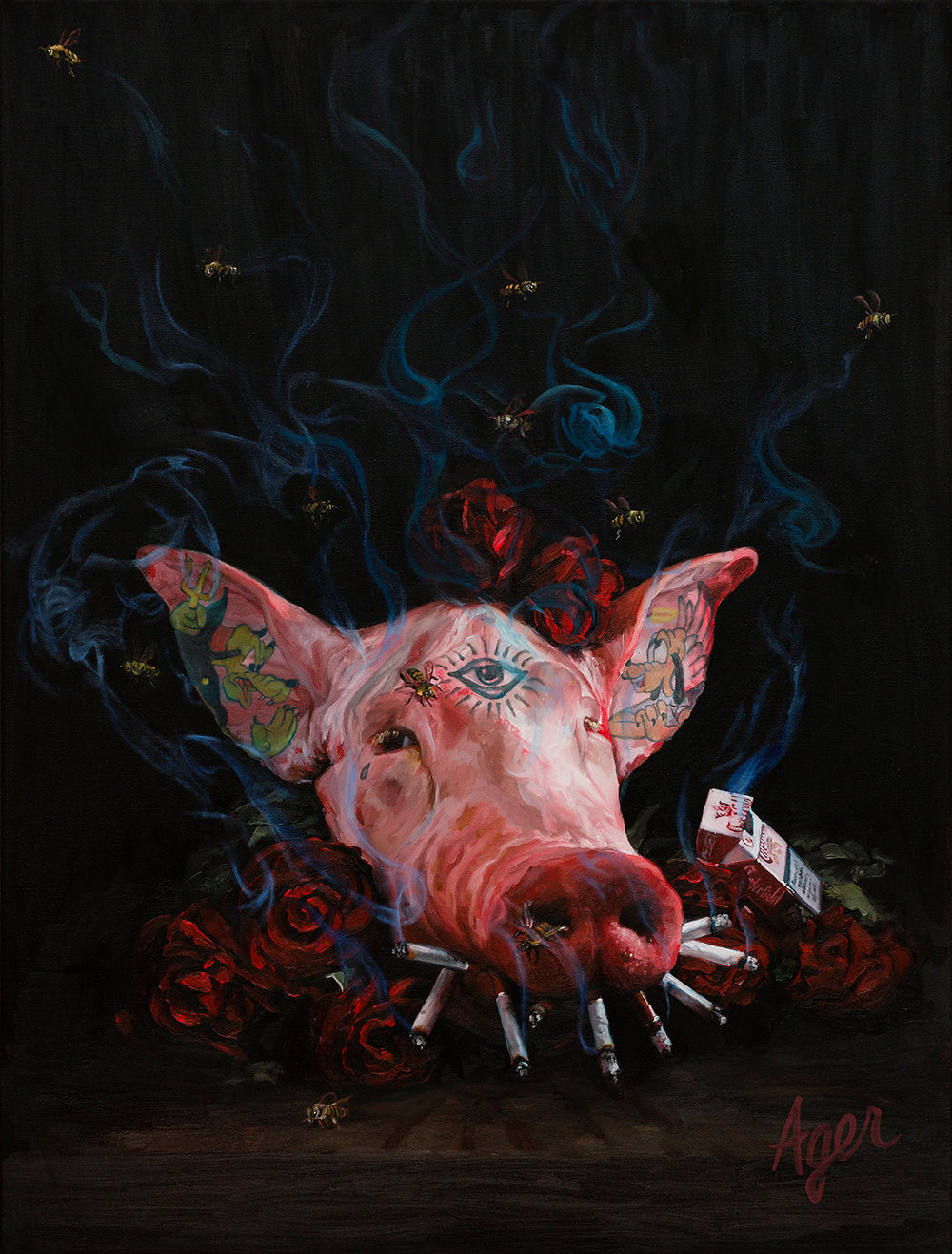 Smokin' Me Out, 60x80cm, oil on canvas.