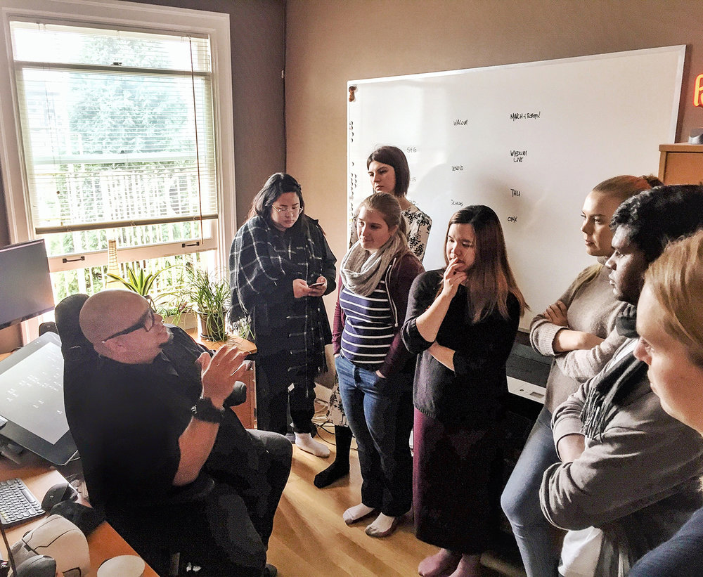 Third year (Grad19) IDEA School of Design Students visit Dacosta Bayley's home studio.