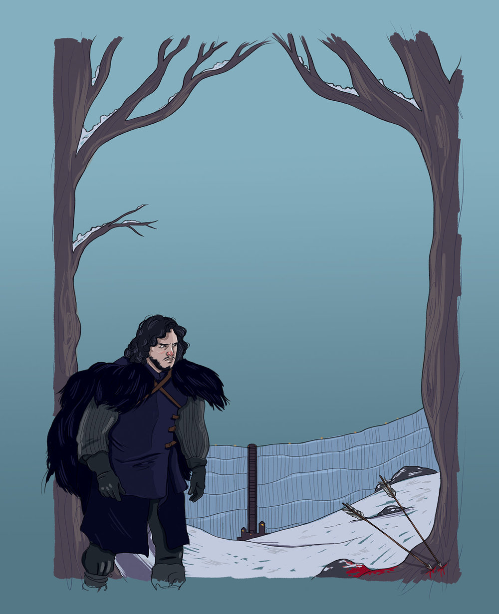 I actually had a column for a short time in the Capilano Courier, covering geek news. This was a full-page illustration that featured Jon Snow from Game of Thrones.