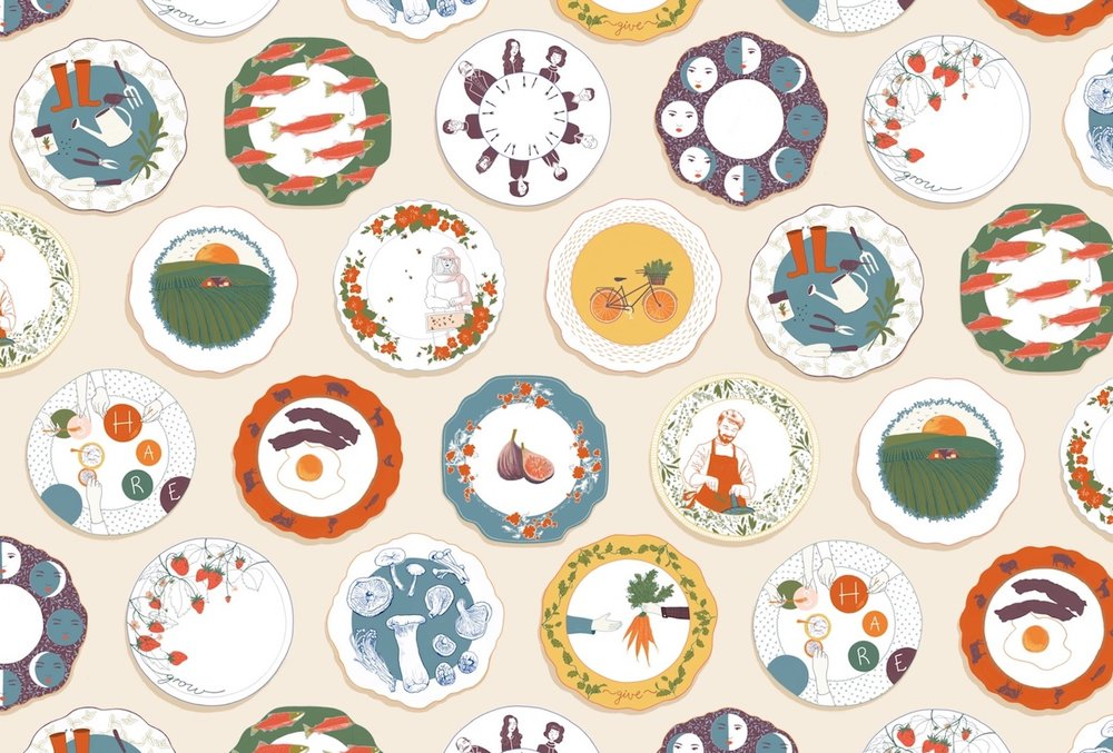 This pattern was designed as a wallpaper for 'The Harvest Room' a farm-to-table restaurant. The restaurant's focus on the community and bringing people together to share delicious food was the inspiration for the illustration.  Through my research I found vintage plates that illustrated a little scene and in turn told a story. Since plates are at the heart of sharing a meal and every meal tells a story; the different plates in the wallpaper invites further inspection into the stories surrounding 'The Harvest Room'. Stories about the farming, preparation, community, the fresh produce and eating seasonally. Each illustration is intended to evoke a sense optimism, making customers feel good about supporting the local community and the planet. This is further carried through in the organic shapes, relaxed lines, light textures and the warm earthy colour palette. When you gather around the table at 'The Harvest Room' you will be reminded that we are all a part of something bigger. —Jominca J Engelbrecht