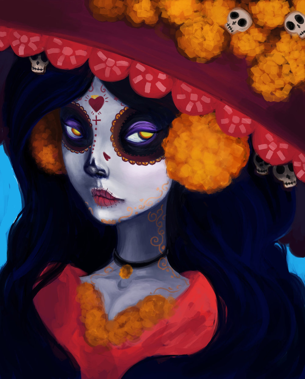 La Muerte (Saint Death) fanart Photoshop painting (2015) by Terea Cantu (IDEA20)