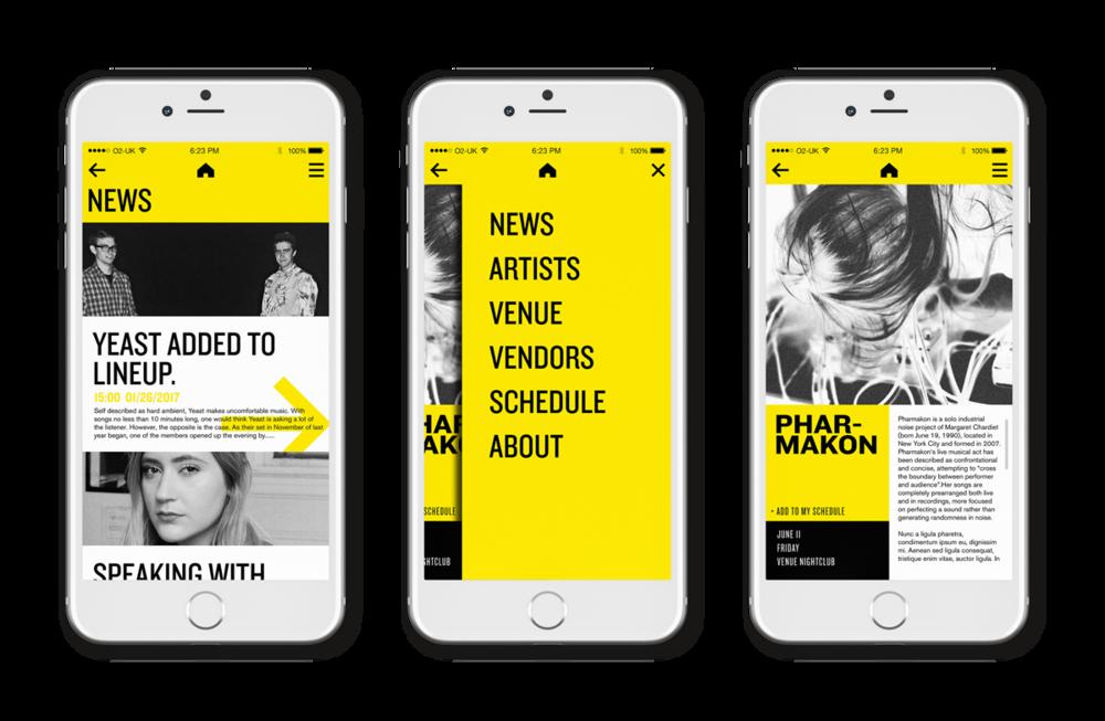 Festival branding app by Max Littledale (IDEA18)