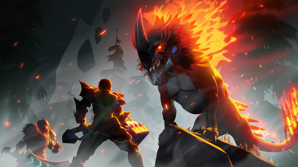 This flaming hot Dauntless wallpaper features the Embermane Behemoth. Disclaimer: I didn't work on this image, but I am working on other aspects of the Dauntless game, such as UI/UX and smaller illustrations.