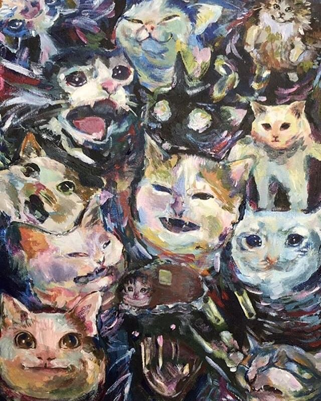 What's better than a cat YouTube video? How about this purfect expressionist painting by the talented @jelladin ?
