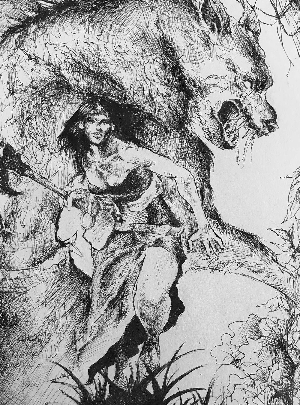 Black & White Line Illustration, Joyce Chan (IDEA22)   This assignment is about creating a dynamic composition with organic elements and characters based on 3 different present-day photo references. At the end, I created this illustration that features a female hunter and the fierce werewolf in the jungle.