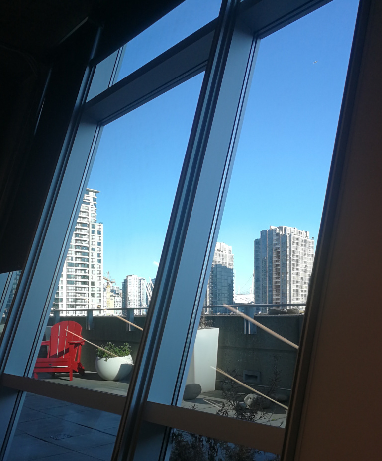 My desk gets comes with a complementary view and some morning sunshine.