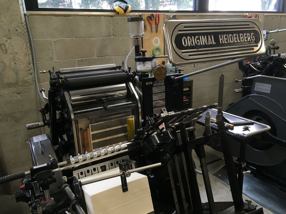 The Heidelberg windmill press is one of many presses at Porchlight Press