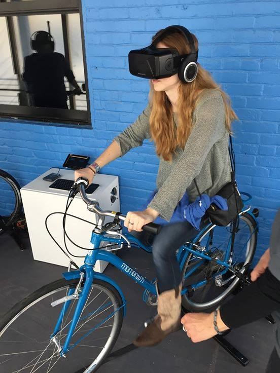 Me VR cycling - I definitely was out of shape even for the least strenuous road mode!