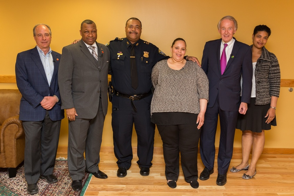 "PHOTOCAPTION: Sheriff Steven W. Tompkins (2nd from left) with panelists for ""A Discussion About Gun Safety"": U.S. Senator Edward Markey (2nd from right), Boston Police Department Superintendent-In-Chief William Gross (3rd from left), Suffolk County Assistant District Attorney Tonya Platt (far right), Founder of Stop Handgun Violence John Rosenthal (far left), and Ada Pantoja, formerly of Operation L.I.P.S.T.I.C.K."