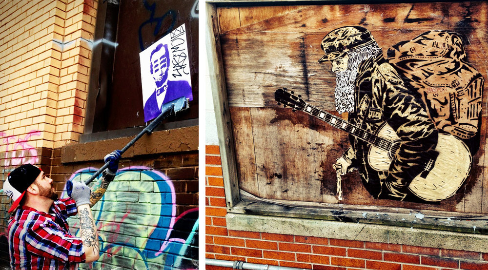 Roupe wheat-pasting a 6-eyed Lincoln poster; 2012 (left); Collage wheat-paste stencil; 2015 (right)