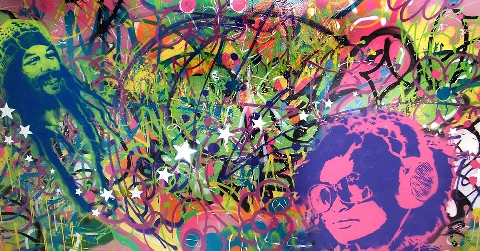 "'A Calming Uproar'; 48x96"", spray paint on panel; 2012."