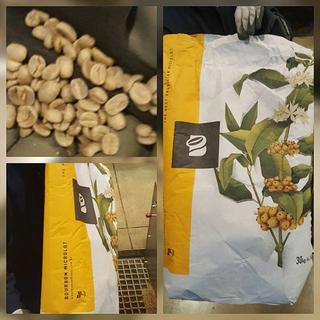 Not at all the typical burlap sacks that coffee usually comes in!  Now that is interesting farmer packaging! Brazil micro lot Sitio Serra de Bone! This is being loaded into the green coffee loading pit at the Roastery! @starbucksroastery #Starbucks #starbucksroastery
