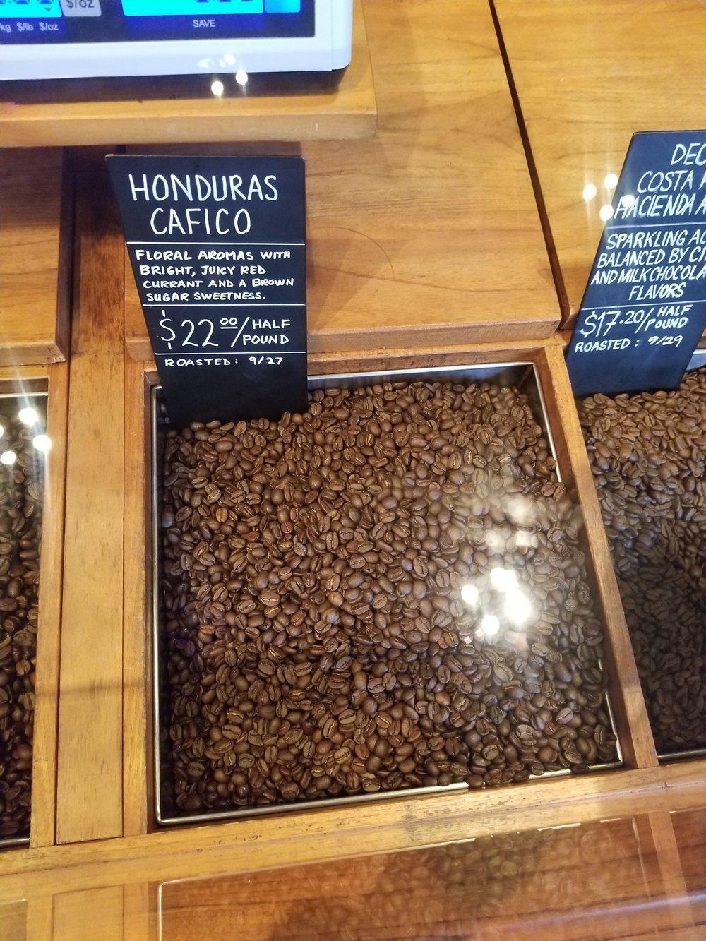 9.29.18 Honduras Cafico on scoop bar at the Seattle Roastery.jpg