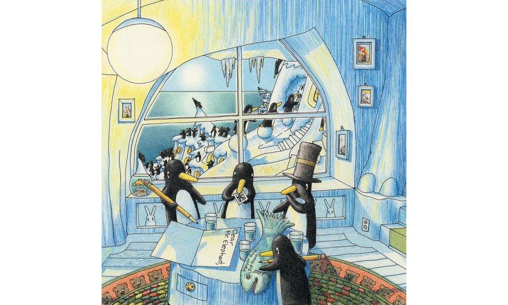 Penguins Writing Fish Letter