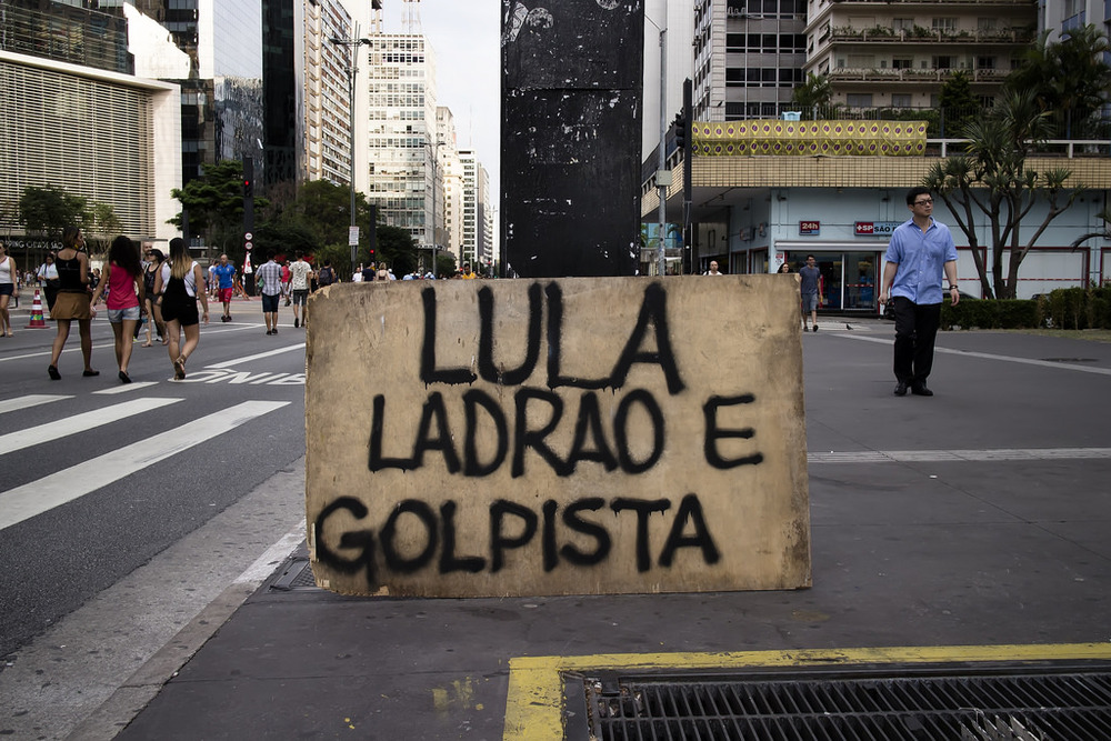 Brazil Anti-Government Protest Sign