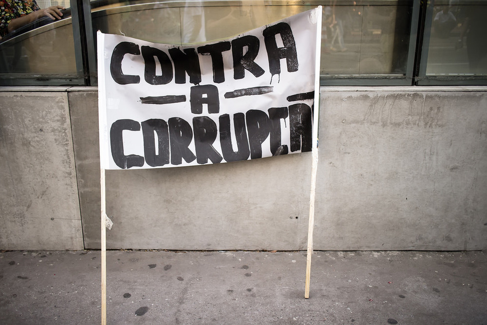 Brazil Anti-Corruption Protest Sign