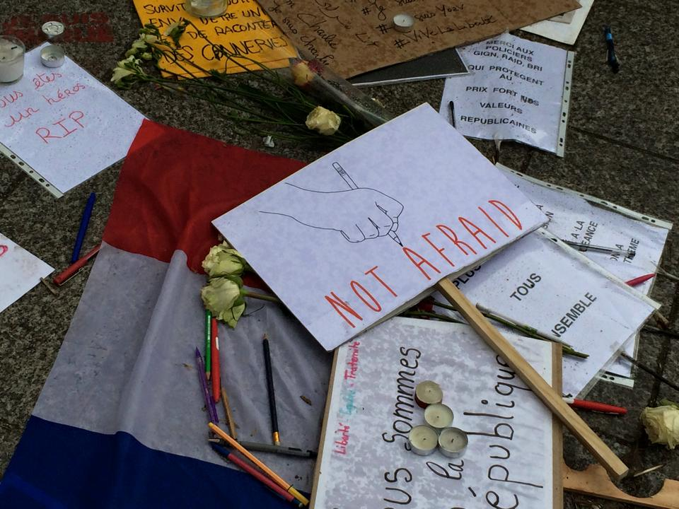 Site of the Charlie Hebdo massacre in Paris immediately after the large protest in response. Photo taken by founder while visiting France.