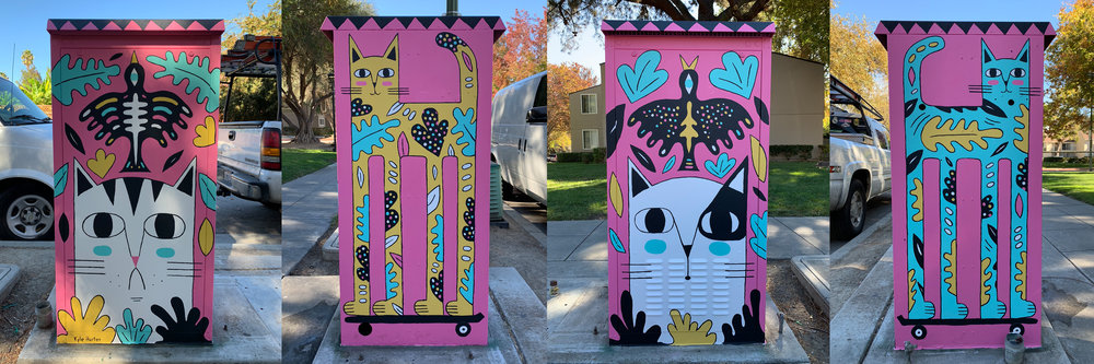 "#1  "" Neighborhood Cats""   Acrylic paint on electric box 3' wide 2 ' deep and 4' tall November 2018"