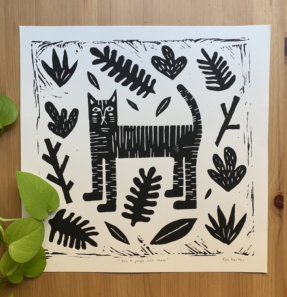"#5   ""Lino-Cat""  Linoleum block print 13.5"" x 13.5"" October 2018"