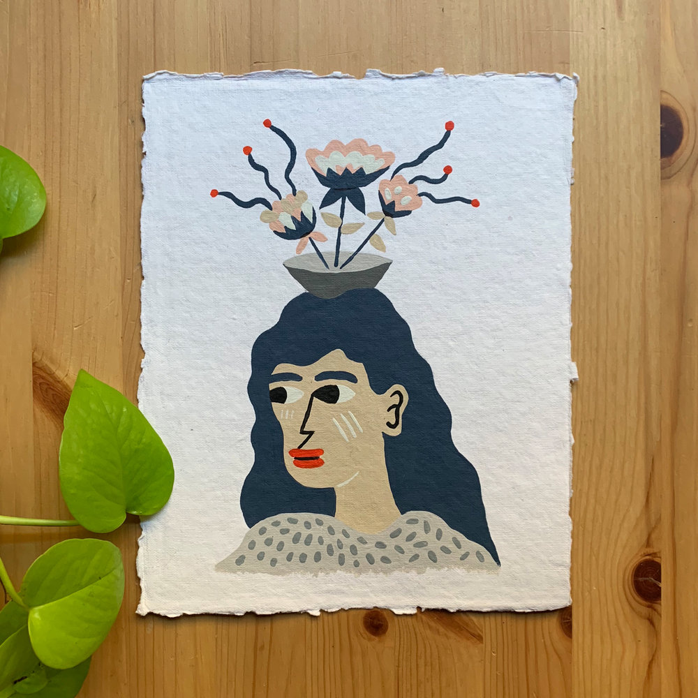 "#6   ""Balance""  Acrylic paint on handmade paper 8""x10"" May 2018"