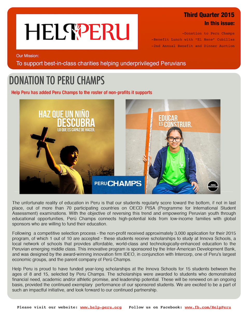 Help Peru Bulletin 3Q 2015