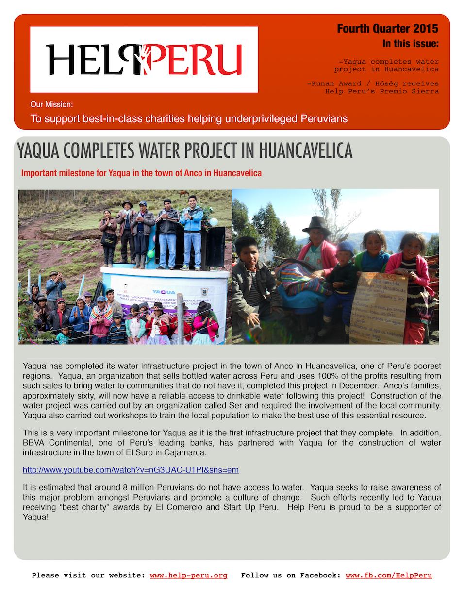 Help Peru Bulletin 4Q 2015
