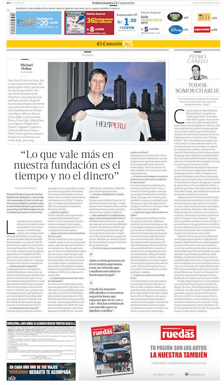"Peru's newspaper  ""El Comercio""  article dated January 8th, 2015"