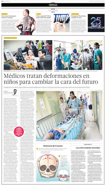 "Peru's newspaper  ""El Comercio""  article dated February 20th,2015"