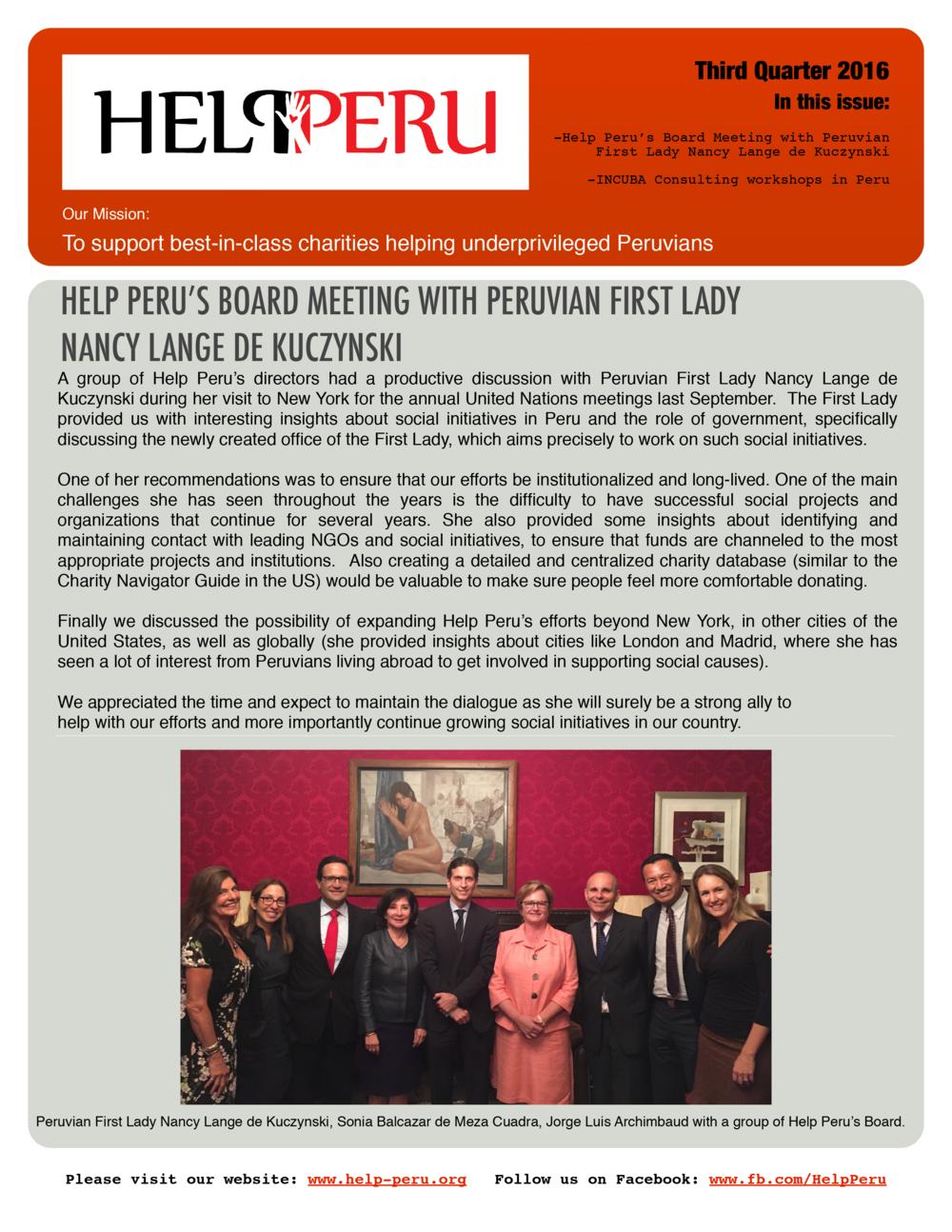 Help Peru Bulletin 3Q 2016