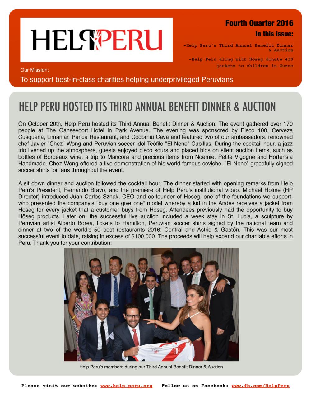 Help Peru Bulletin 4Q 2016