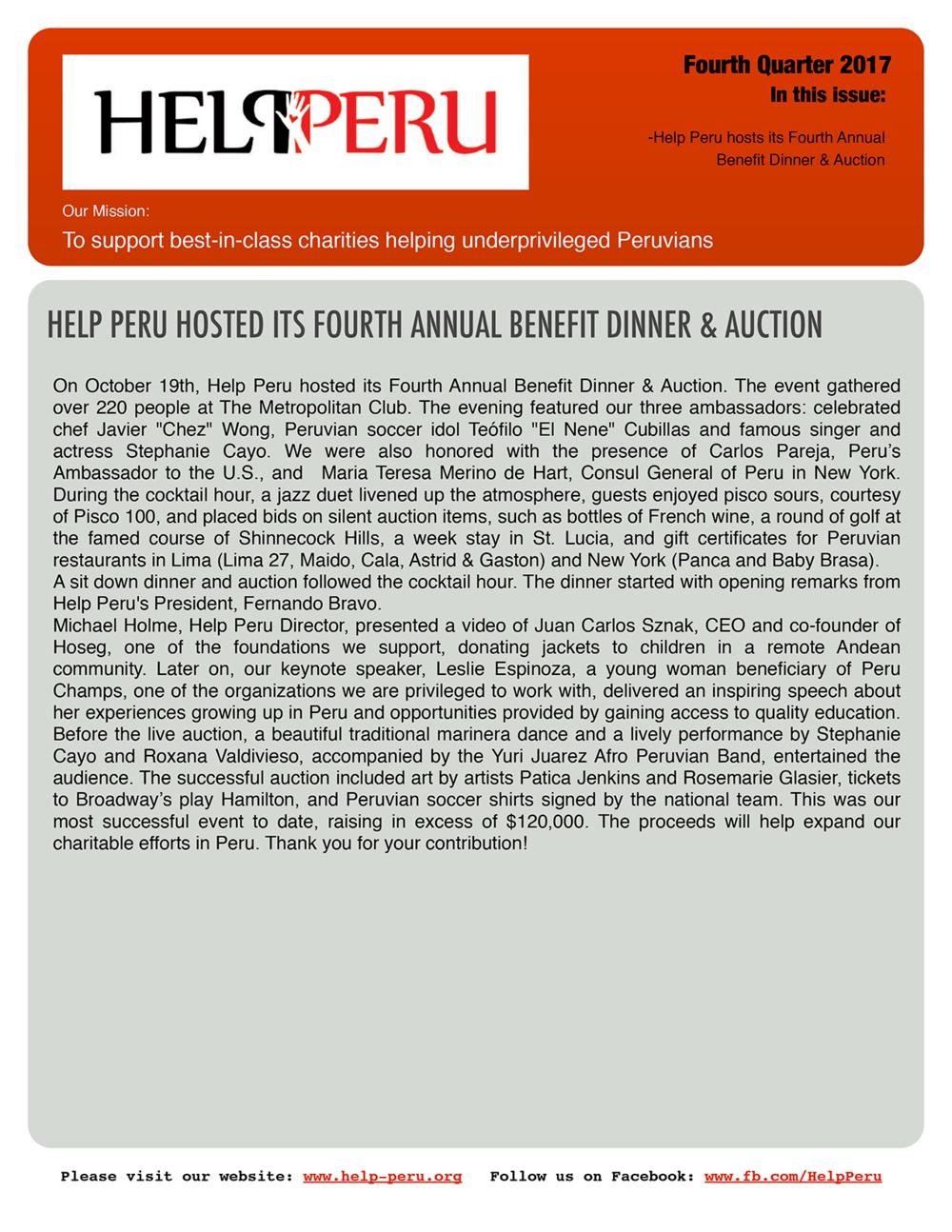 Help Peru Bulletin 4Q 2017