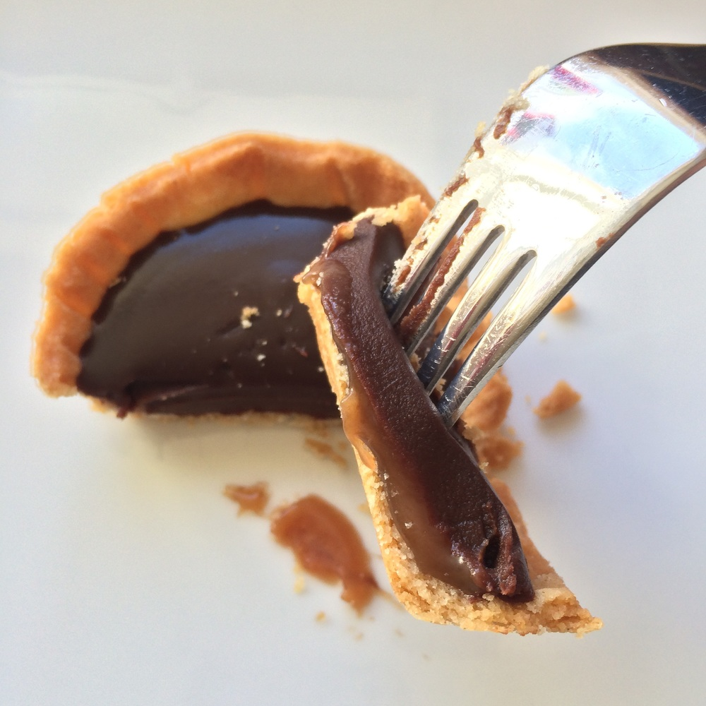 Gorgeously gooey: the salted caramel layer oozes appeal against the glossy chocolate ganache and perfectly crisp pastry. To die for!