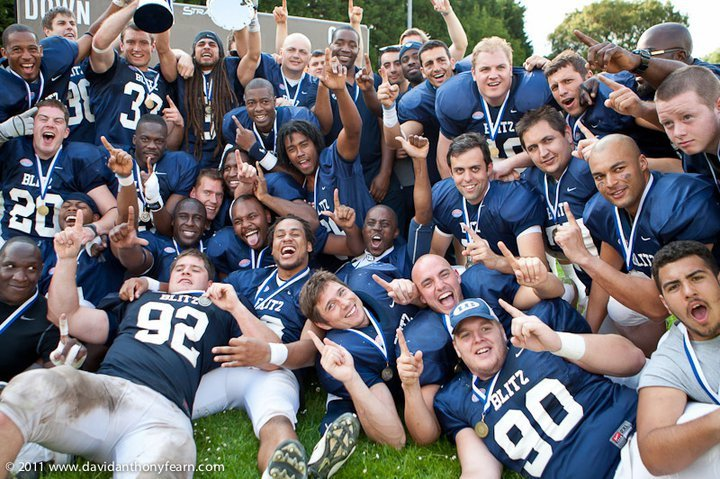 Celebrating the victory over the Kragujevac Wild Boars in the 2011 EFAF European Championships