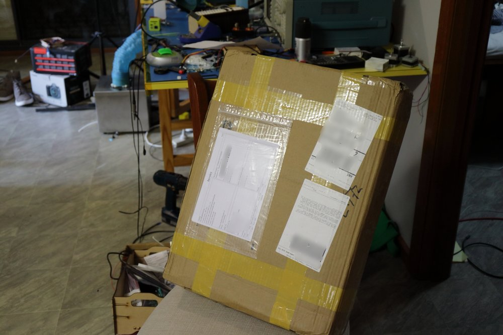 A shiny new 3d printer. (roughly A2 sized, ~8kg)