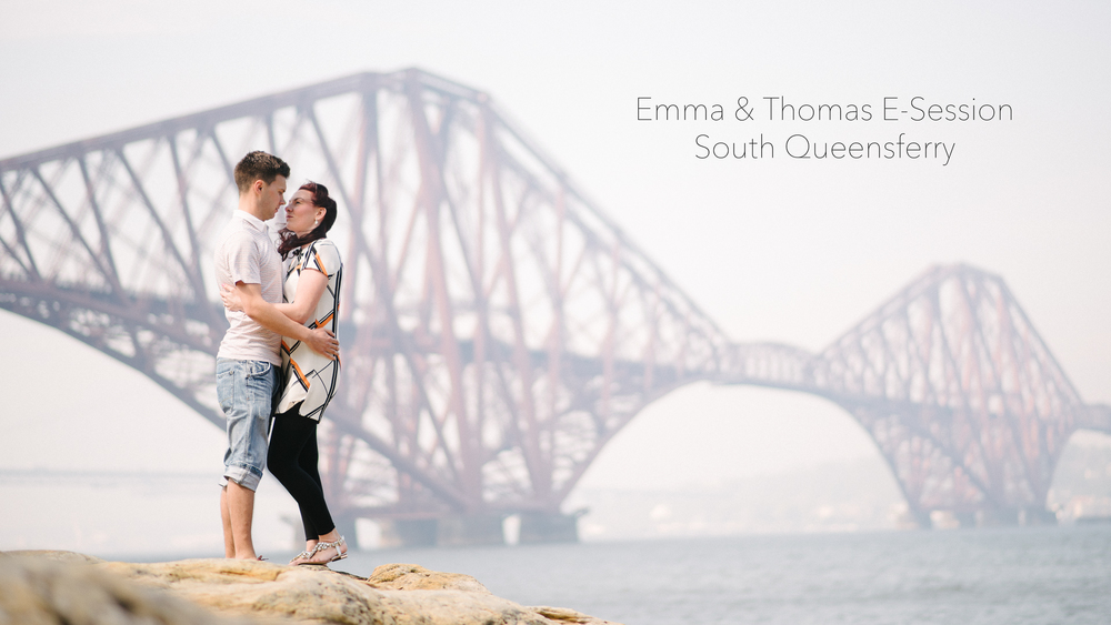 Emma and Thomas with the iconic Forth Bridge.