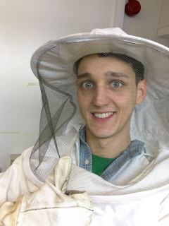 Me hard at work with my pointless bee suit.