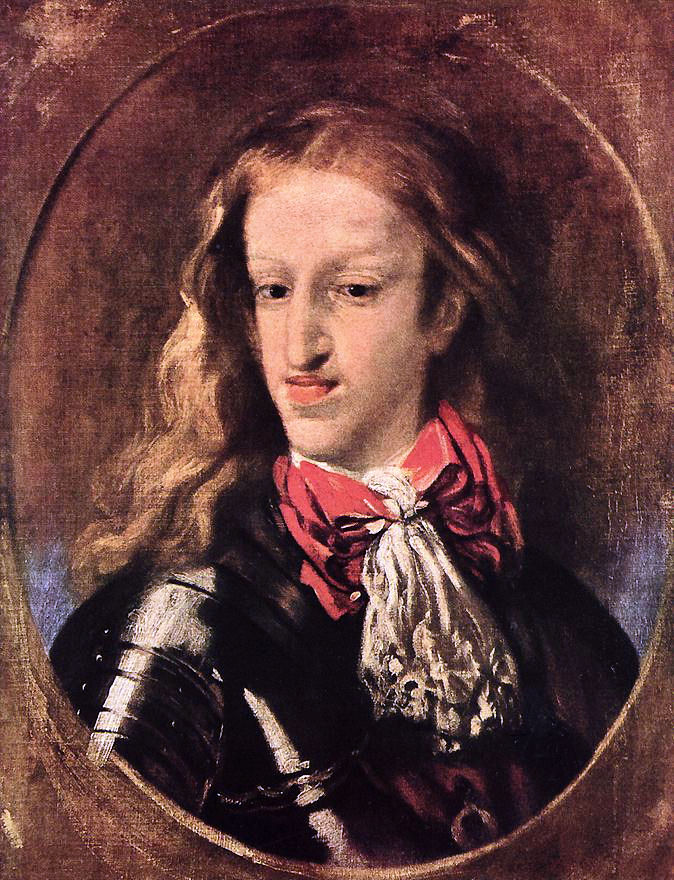 Charles II of Spain in his twenties. Note that this was a portrait of a royal... these were the most flattering portraits there were even supposed to be. Almost needless to say he had fragile health and did not live to see 40. By Luca Giordano - Unknown, Public Domain