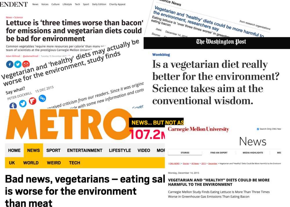A selection of newspaper headings from December 2015 claiming that being vegetarian is worse for the environment than eating meat.