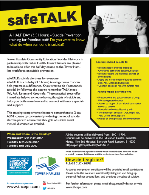 Suicide Prevention Training- SAFE talk — TOWER HAMLETS CEPN