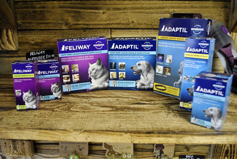 Dog and cat phermones, adaptil and feliway for sale at Ginger&Browns pet shop in Northwich, Chester near Chester, Winsford, Frodsham. Shop in store or buy online.