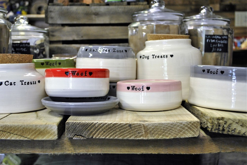 Handmade dog bowls for sale at Ginger&Browns pet shop in Northwich, Chester near Chester, Winsford, Frodsham. Shop in store or buy online.