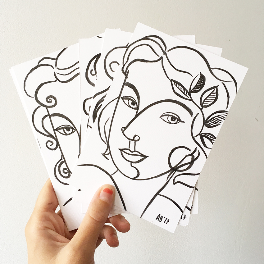 These little line drawings will be dished out among the next handful of orders from the online shop!