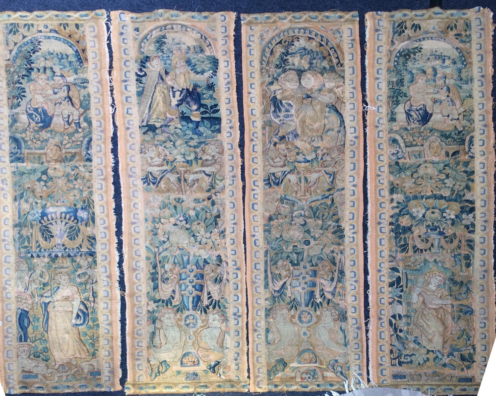 Four 17th Century Brussels Tapestry Panels. Sizes approx. 1.68m x 0.46m. SOLD