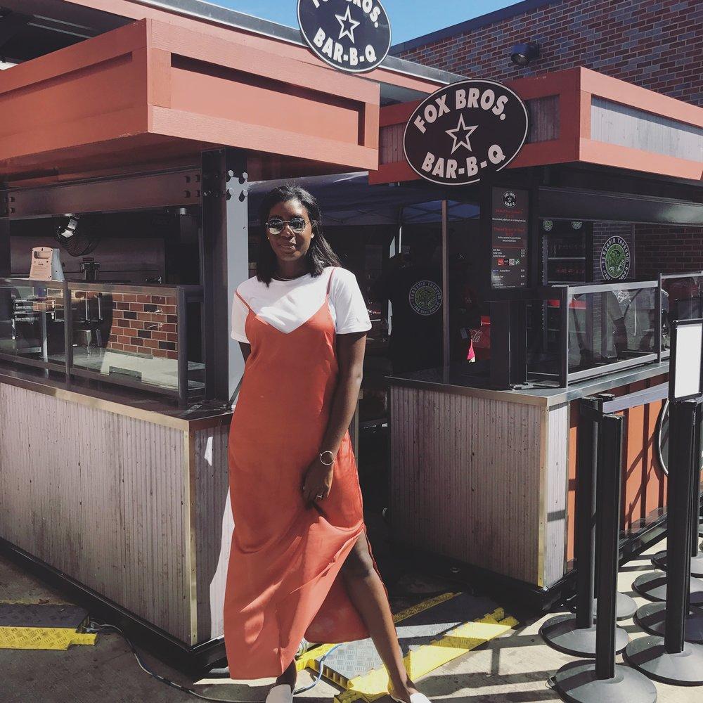 Dress: Rachel Roy   Tee: Han Kjobenhaven   Slippers: ASOS   Sunnies: stolen from fiancé   Bracelet: Los Labos @ Coco + Mischa in Decatur