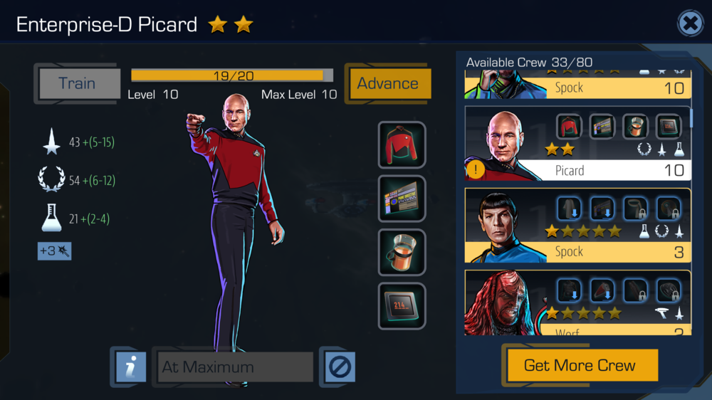 Advanced button pressed, Picard will need a new set of items that happens to include a slightly more rare Earl Grey.