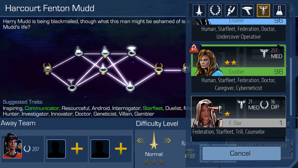 Selecting the right crew is critical. When choosing your crew members, you can see their exhaustion stacks in the upper left corner of their portrait. Also note that this mission is six nodes instead of the standard four.