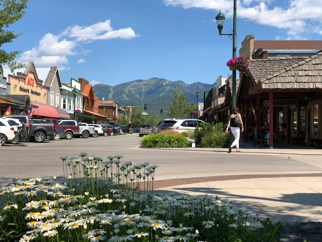 Whitefish, Montana, population 7,000, is a popular destination for summer and winter sports. You can see the ski slopes in the background.