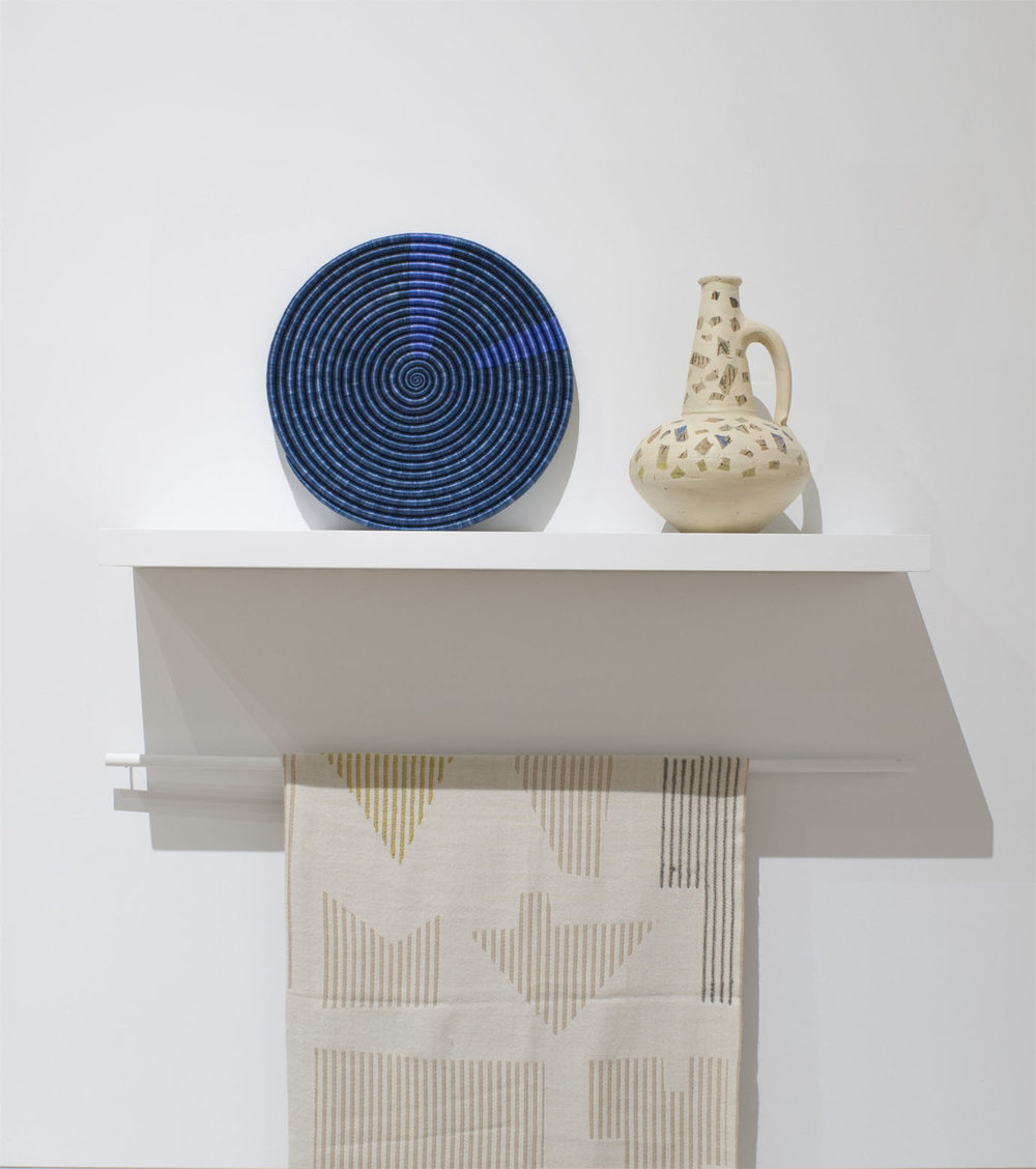 Woven platter (one of a kind), custom vase (one of a kind) and Houses Throw with Hawkins New York