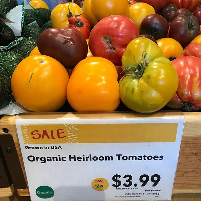 Heirloom tomatoes on sale? -#win! How will you eat yours? I'm thinking #caprese with fresh basil and buffalo (not cow) milk mozzarella (not to be forgotten - a drizzle of olive oil and sprinkle of s&p) #thriveanddineapproved #heirloomtomatoes #organiceats #oceats