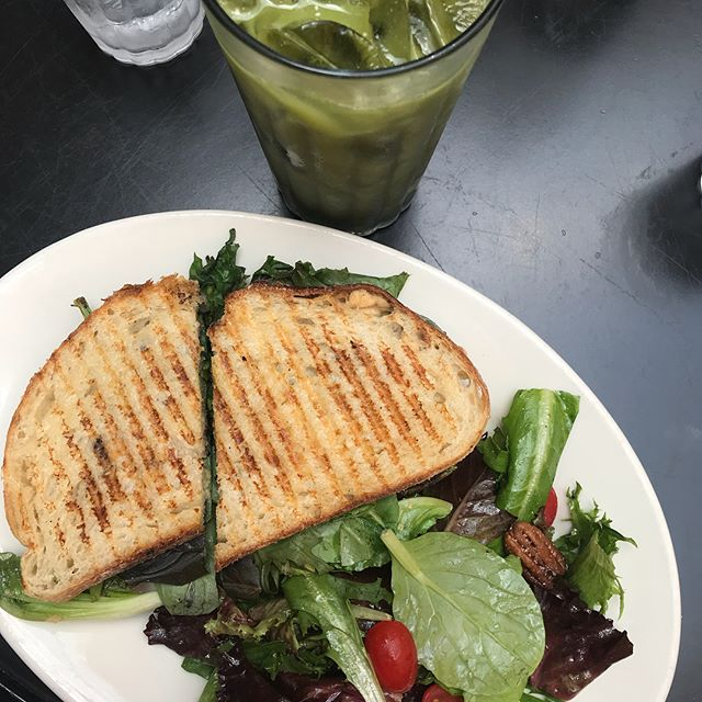Going vegan at FreeSoulCaffe in Tustin.  Enjoyed this grilled veggie panini for lunch with a yummy iced matcha on the side. #freesoulcaffe #thriveanddineapproved #organiceats #oceats #thriveanddine